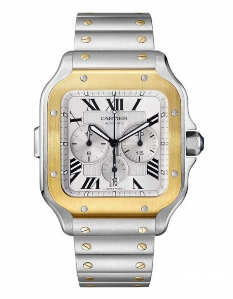Replica Cartier Santos Chronograph Steel 18K Yellow Gold Automatic 43.3mm Watch W2SA0008