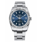 Fake Rolex Air-King White Gold Fluted Bezel Blue dial 114234 BLAO.