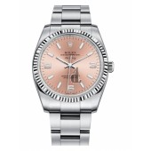 Fake Rolex Air-King White Gold Fluted Bezel Salmon pink round dial 114234 PAO.