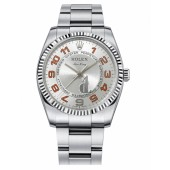 Fake Rolex Air-King White Gold Fluted Bezel Silver concentric dial 114234 SCAO.