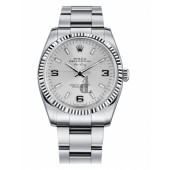 Fake Rolex Air-King White Gold Fluted Bezel Silver dial 114234 SLIO.