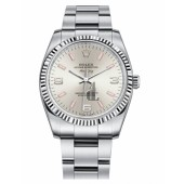 Fake Rolex Air-King White Gold Fluted Bezel Silver dial 114234 SPIO.