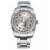 Fake Rolex Air-King White Gold Fluted Bezel Silver dial 114234 SRO.