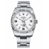Fake Rolex Air-King White Gold Fluted Bezel White dial 114234 WAO.
