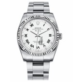 Fake Rolex Air-King White Gold Fluted Bezel White dial 114234 WRO.