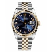 Fake Rolex Datejust 36mm Steel and Yellow Gold Blue Concentric Circle Dial 116233 BLCAJ.