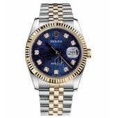 Fake Rolex Datejust 36mm Steel and Yellow Gold Blue Jubilee Dial 116233 BLJDJ.