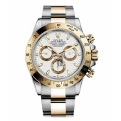 Fake Rolex Daytona Steel and Gold White dial 116523 WS.