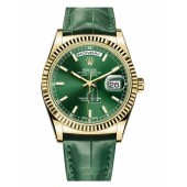 Fake Rolex Day Date Yellow Gold Green Dial 118138 GRL.