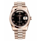 Fake Rolex Day Date Pink Gold Black Dial 118205 BKAP.