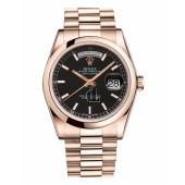 Fake Rolex Day Date Pink Gold Black Dial 118205 BKSP.