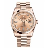 Fake Rolex Day Date Pink Gold Champagne Dial 118205 CHDP.