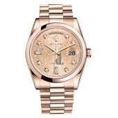 Fake Rolex Day Date Pink Gold Champagne Dial 118205 CHJDP.