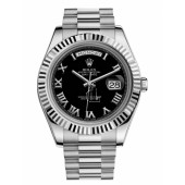 Fake Rolex Day Date II President White Gold Black dial 218239 BKRP.