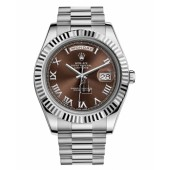 Fake Rolex Day Date II President White Gold Brown dial 218239 BRRP.
