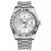 Fake Rolex Day Date II President White Gold Silver dial 218239 SDP.