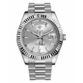 Fake Rolex Day Date II President White Gold Silver dial 218239 SIP.