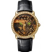 Replica Panthere Ronde Louis Cartier Wood And Gold Leaf Marquetry Watch