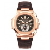 Fake Patek Philippe Black Brown Dial 18kt Rose Gold Brown Leather Mens Watch 5980R